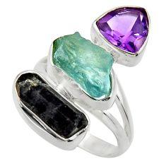 14.26cts natural aqua aquamarine rough amethyst 925 silver ring size 7 r29708