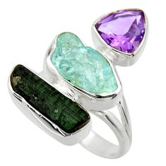 14.26cts natural aqua aquamarine rough amethyst 925 silver ring size 7 r29734