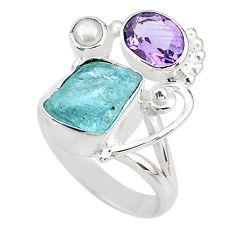 6.58cts natural aqua aquamarine rough amethyst 925 silver ring size 7 t10547