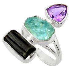 15.16cts natural aqua aquamarine rough amethyst 925 silver ring size 8 r29702