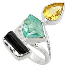 13.77cts natural aqua aquamarine rough citrine 925 silver ring size 6.5 r29733
