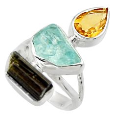 14.26cts natural aqua aquamarine rough citrine 925 silver ring size 7 r29722
