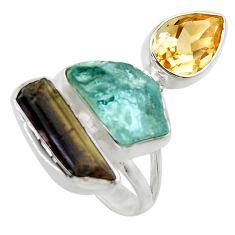 15.09cts natural aqua aquamarine rough citrine 925 silver ring size 7 r29739