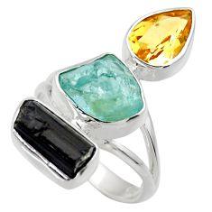 14.26cts natural aqua aquamarine rough citrine 925 silver ring size 8 r29731