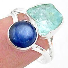 9.53cts natural aqua aquamarine raw kyanite 925 silver ring size 7 t38084
