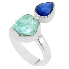 8.80cts natural aqua aquamarine raw kyanite 925 silver ring size 7 t48921