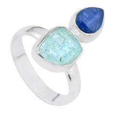 7.65cts natural aqua aquamarine raw kyanite 925 silver ring size 7 t48955