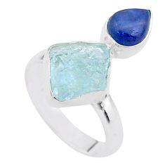 8.44cts natural aqua aquamarine raw kyanite 925 silver ring size 7 t48966