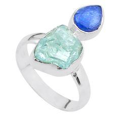 8.28cts natural aqua aquamarine raw kyanite 925 silver ring size 8 t48942