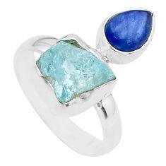8.28cts natural aqua aquamarine raw kyanite 925 silver ring size 8 t48947