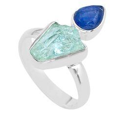 7.62cts natural aqua aquamarine raw kyanite 925 silver ring size 9 t48944