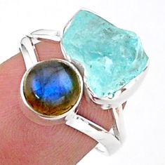 9.96cts natural aqua aquamarine raw labradorite 925 silver ring size 7 t38094