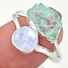 8.73cts natural aqua aquamarine raw moonstone 925 silver ring size 8 t38136