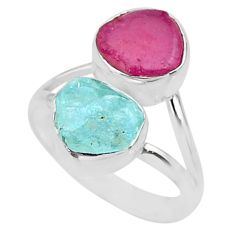 9.18cts natural aqua aquamarine rough ruby rough 925 silver ring size 7 t36772