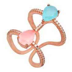 4.84cts natural aqua chalcedony 925 silver 14k rose gold ring size 5.5 c10287