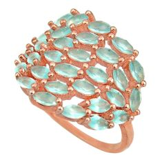3.11cts natural aqua chalcedony 925 silver 14k rose gold ring size 7 c10294