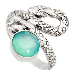 3.19cts natural aqua chalcedony 925 silver snake solitaire ring size 8.5 d46263