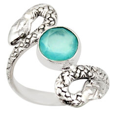 3.35cts natural aqua chalcedony 925 silver snake solitaire ring size 8 d46261