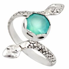 3.50cts natural aqua chalcedony 925 silver snake solitaire ring size 9 d46262