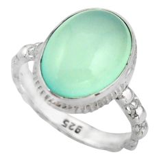 6.72cts natural aqua chalcedony 925 silver solitaire ring jewelry size 7 d46471