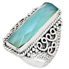 6.32cts natural aqua chalcedony 925 silver solitaire ring jewelry size 7 r21366