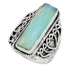 6.55cts natural aqua chalcedony 925 silver solitaire ring jewelry size 7 r21370