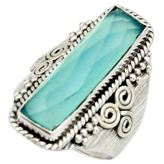 6.32cts natural aqua chalcedony 925 silver solitaire ring jewelry size 7 r22622