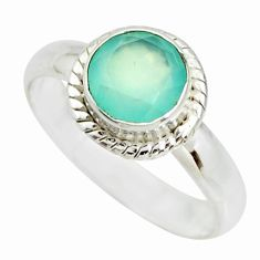 2.28cts natural aqua chalcedony 925 silver solitaire ring jewelry size 7 r26379