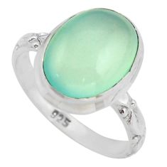 7.04cts natural aqua chalcedony 925 silver solitaire ring jewelry size 8 d46472