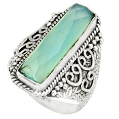 6.67cts natural aqua chalcedony 925 silver solitaire ring jewelry size 8 r21371