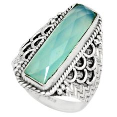 6.68cts natural aqua chalcedony 925 silver solitaire ring jewelry size 8 r21373