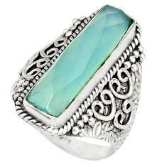 6.90cts natural aqua chalcedony 925 silver solitaire ring jewelry size 9 r21368