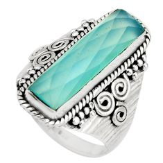 6.66cts natural aqua chalcedony 925 silver solitaire ring jewelry size 9 r21372