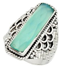 6.20cts natural aqua chalcedony 925 silver solitaire ring jewelry size 9 r22643