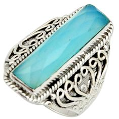 6.42cts natural aqua chalcedony 925 silver solitaire ring size 8.5 r22621
