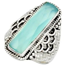 6.20cts natural aqua chalcedony 925 silver solitaire ring size 8.5 r22623