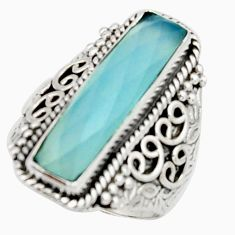 6.20cts natural aqua chalcedony 925 silver solitaire ring size 7.5 r22641