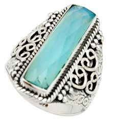 6.53cts natural aqua chalcedony 925 silver solitaire ring size 8.5 r22642