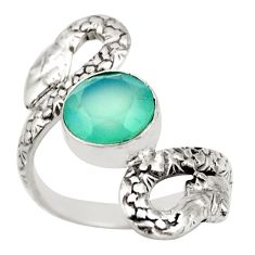 3.13cts natural aqua chalcedony 925 sterling silver snake ring size 6.5 d46243