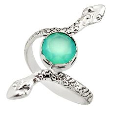 3.19cts natural aqua chalcedony 925 sterling silver snake ring size 8 d46241