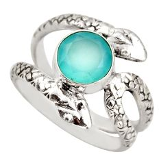 3.32cts natural aqua chalcedony 925 sterling silver snake ring size 8 d46242