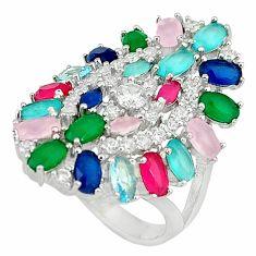 Natural aqua chalcedony emerald quartz topaz 925 silver ring size 6.5 c22890