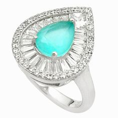 Natural aqua chalcedony topaz 925 sterling silver ring size 6.5 c19263