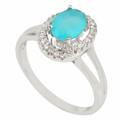 Natural aqua chalcedony topaz 925 sterling silver ring size 8.5 c22287