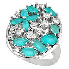 Natural aqua chalcedony topaz 925 sterling silver ring size 6.5 c22893
