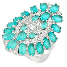 Natural aqua chalcedony topaz 925 sterling silver ring size 7.5 c22895