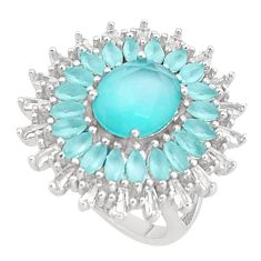 8.82cts natural aqua chalcedony topaz 925 sterling silver ring size 6 c19972