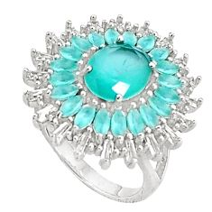 12.45cts natural aqua chalcedony topaz 925 sterling silver ring size 7 c19973