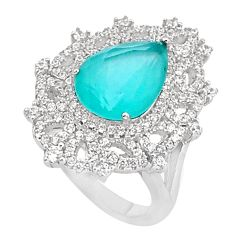 8.00cts natural aqua chalcedony topaz 925 sterling silver ring size 7 c19983
