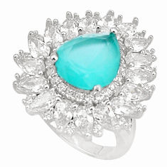 9.33cts natural aqua chalcedony topaz 925 sterling silver ring size 7 c19985